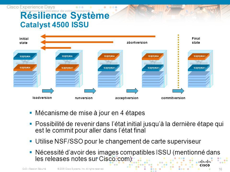 © 2009 Cisco Systems, Inc. All rights reserved. CxD – Session Sécurité 16 Résilience Système Catalyst 4500 ISSU Mécanisme de mise à jour en 4 étapes P