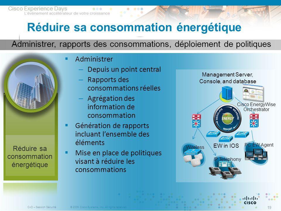 © 2009 Cisco Systems, Inc. All rights reserved. CxD – Session Sécurité 19 Administrer, rapports des consommations, déploiement de politiques Réduire s