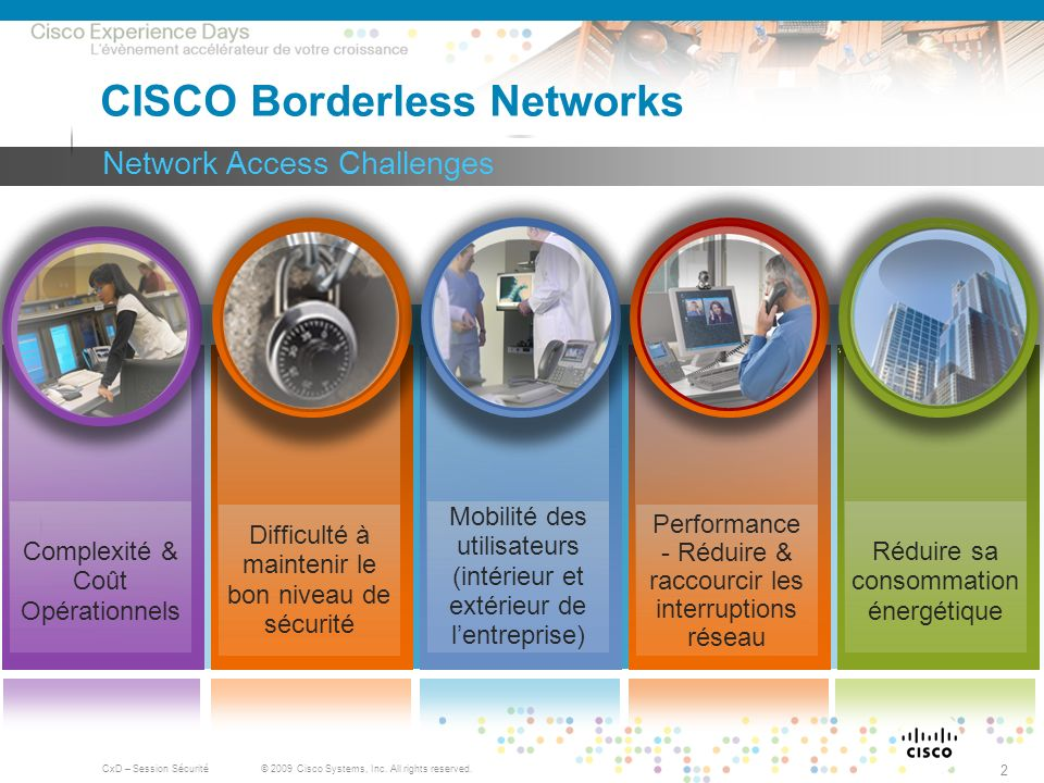 © 2009 Cisco Systems, Inc. All rights reserved. CxD – Session Sécurité 2 Network Access Challenges CISCO Borderless Networks Difficulté à maintenir le