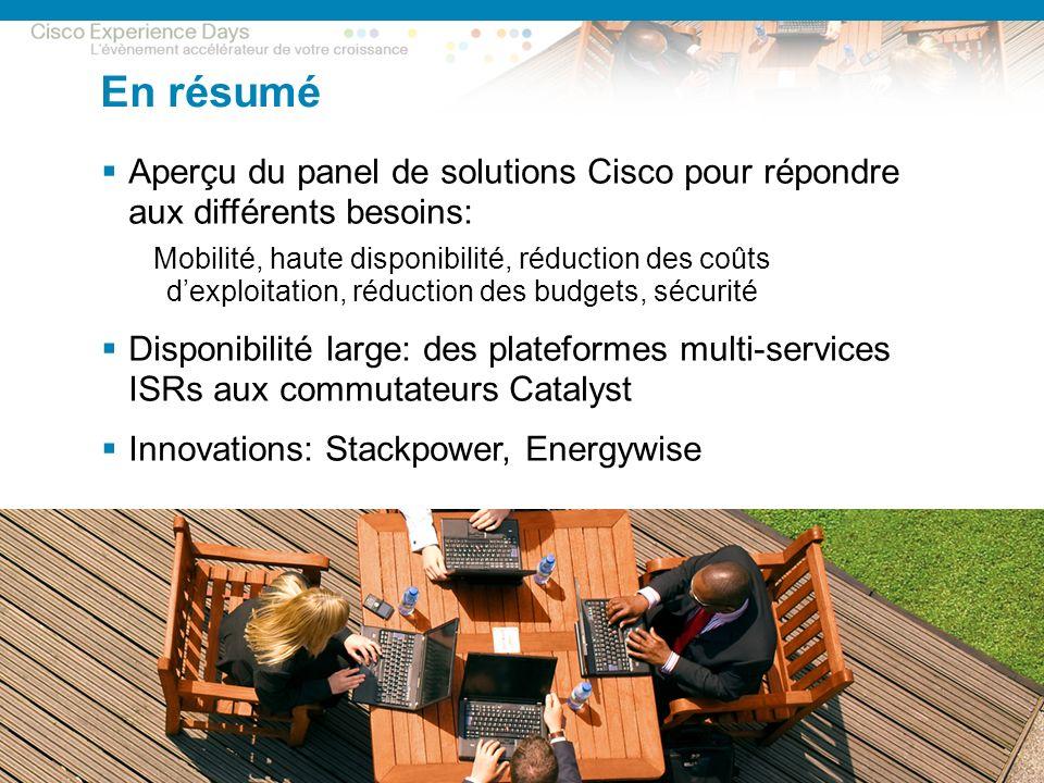 © 2009 Cisco Systems, Inc. All rights reserved. CxD – Session Sécurité 27 En résumé Aperçu du panel de solutions Cisco pour répondre aux différents be