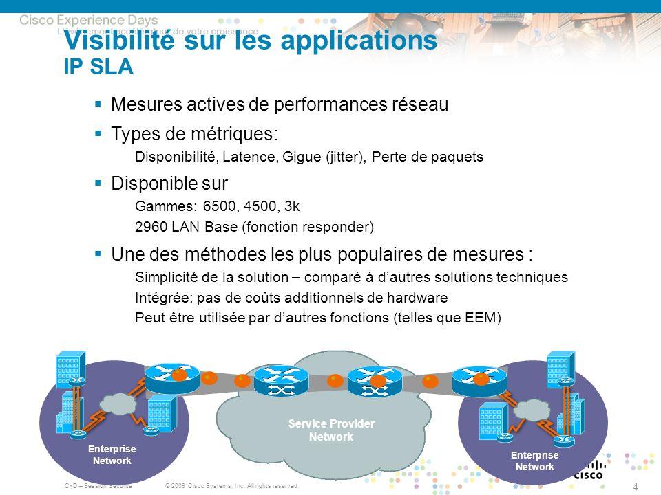 © 2009 Cisco Systems, Inc. All rights reserved. CxD – Session Sécurité 4 Visibilité sur les applications IP SLA Mesures actives de performances réseau