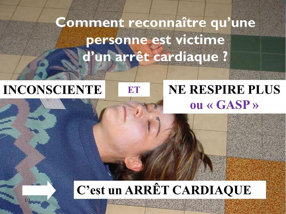 Association pour la Formation des Médecins Libéraux 10 Comment reconnaître quune personne est victime dun arrêt cardiaque .