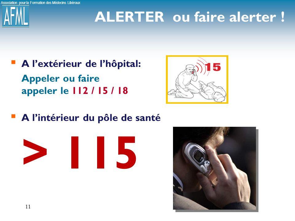 Association pour la Formation des Médecins Libéraux 11 A lextérieur de lhôpital: Appeler ou faire appeler le 112 / 15 / 18 A lintérieur du pôle de santé > 115 ALERTER ou faire alerter !