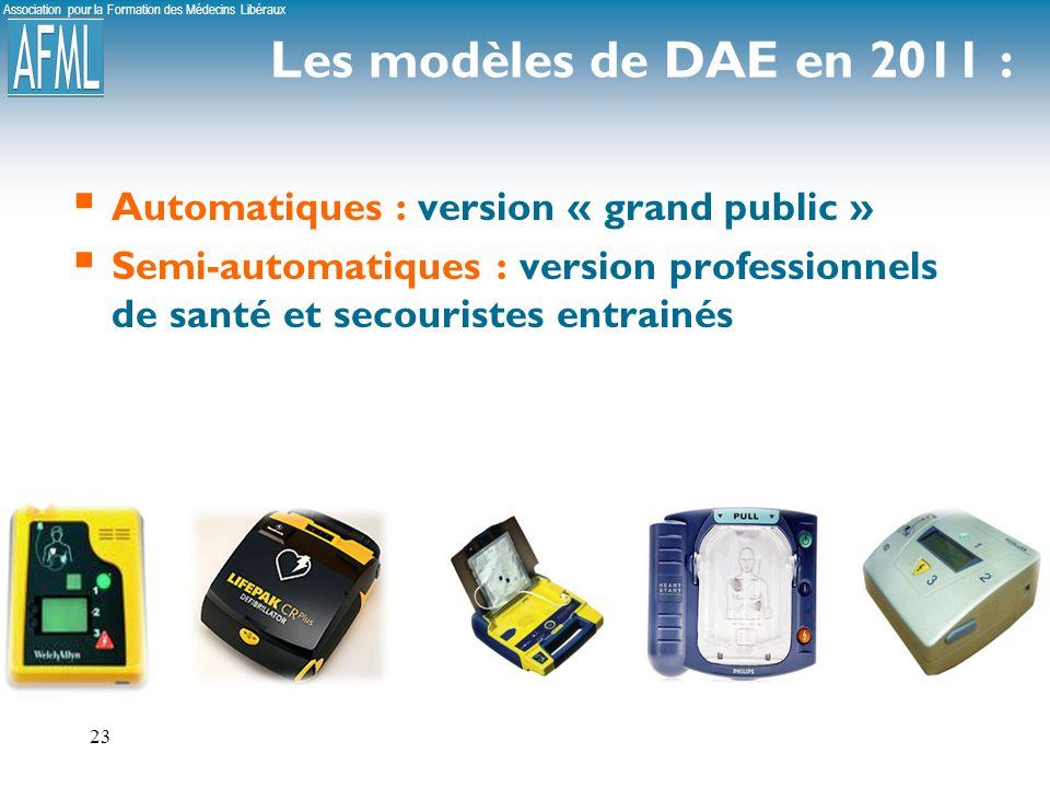 Association pour la Formation des Médecins Libéraux 23 Les modèles de DAE en 2011 : Automatiques : version « grand public » Semi-automatiques : version professionnels de santé et secouristes entrainés