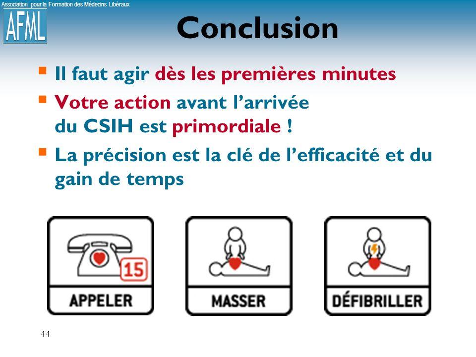 Association pour la Formation des Médecins Libéraux 44 Conclusion Il faut agir dès les premières minutes Votre action avant larrivée du CSIH est primordiale .