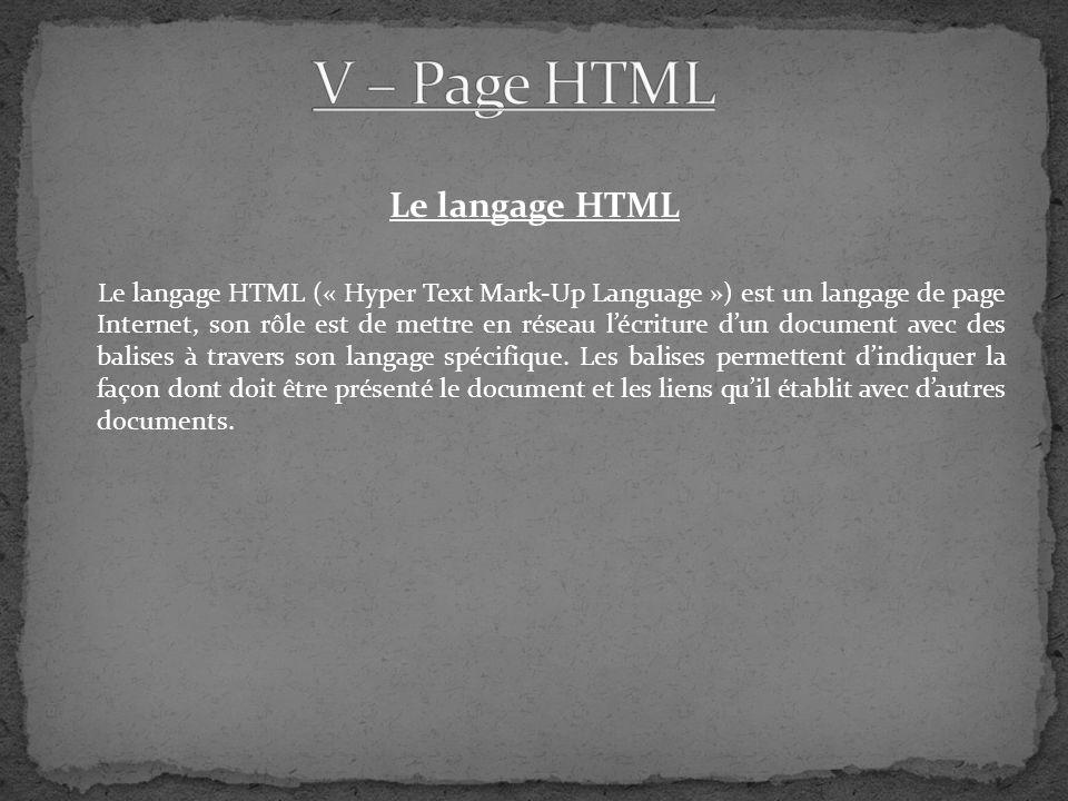 Le langage HTML Le langage HTML (« Hyper Text Mark-Up Language ») est un langage de page Internet, son rôle est de mettre en réseau lécriture dun document avec des balises à travers son langage spécifique.
