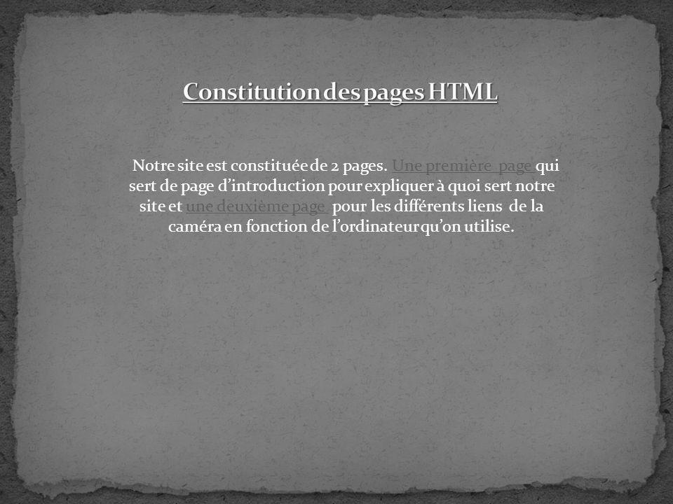 Notre site est constituée de 2 pages. Une première page qui sert de page dintroduction pour expliquer à quoi sert notre site et une deuxième page pour