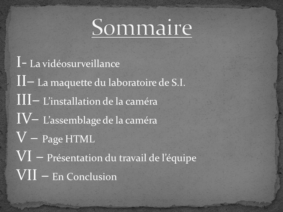 I- La vidéosurveillance II– La maquette du laboratoire de S.I. III– Linstallation de la caméra IV– Lassemblage de la caméra V – Page HTML VI – Présent