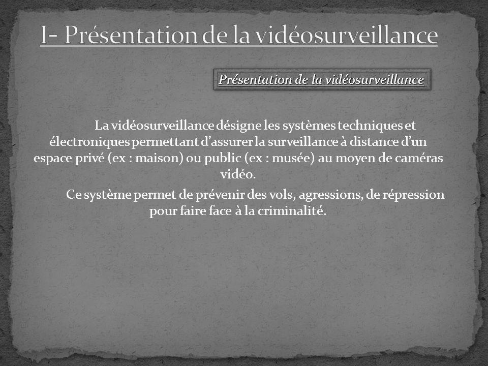 La vidéosurveillance désigne les systèmes techniques et électroniques permettant dassurer la surveillance à distance dun espace privé (ex : maison) ou public (ex : musée) au moyen de caméras vidéo.