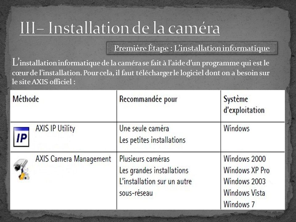 L installation informatique de la caméra se fait à laide dun programme qui est le cœur de linstallation.