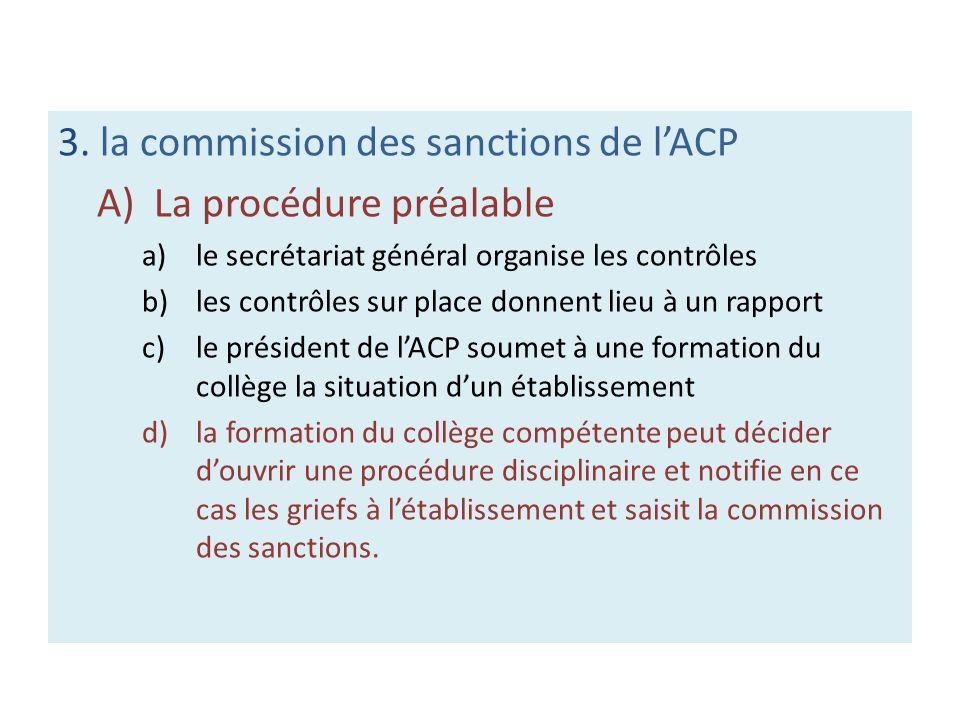 3. la commission des sanctions de lACP A)La procédure préalable a)le secrétariat général organise les contrôles b)les contrôles sur place donnent lieu