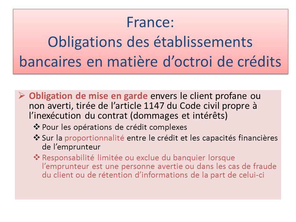 France: Obligations des établissements bancaires en matière doctroi de crédits Obligation de mise en garde envers le client profane ou non averti, tir