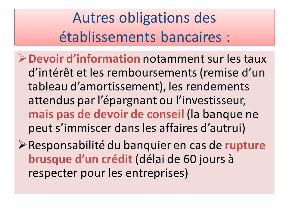 Autres obligations des établissements bancaires : Devoir dinformation notamment sur les taux dintérêt et les remboursements (remise dun tableau damort