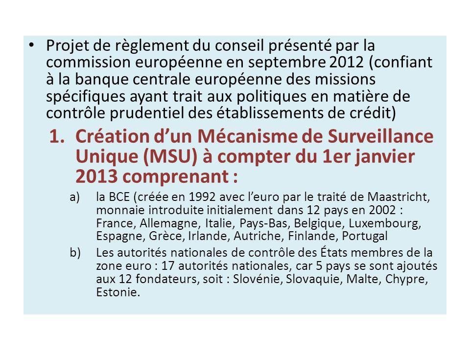 Projet de règlement du conseil présenté par la commission européenne en septembre 2012 (confiant à la banque centrale européenne des missions spécifiq