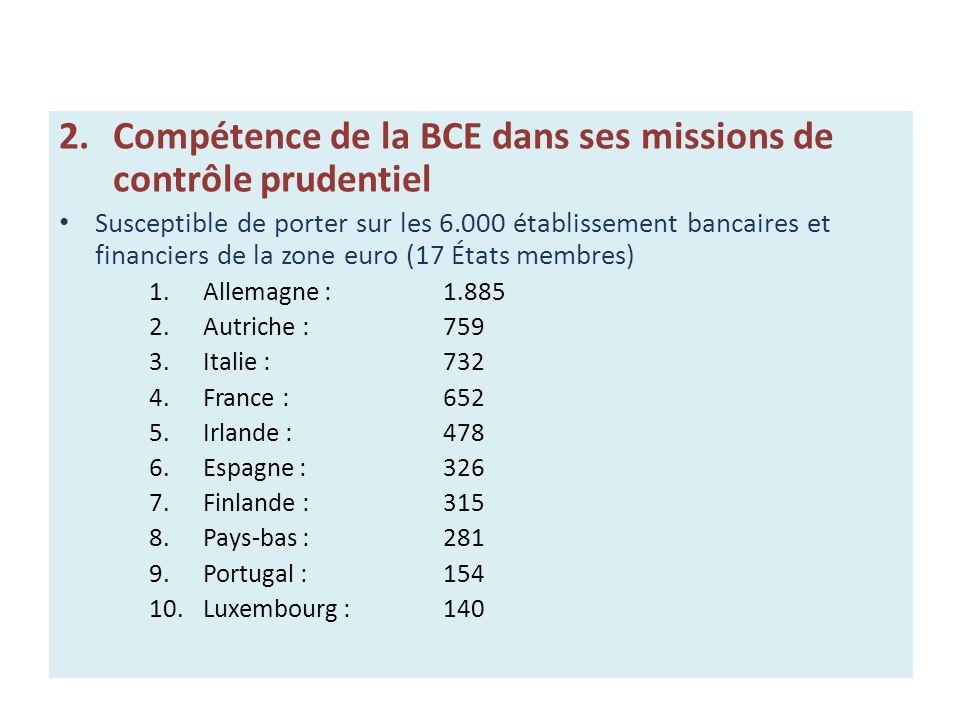 2.Compétence de la BCE dans ses missions de contrôle prudentiel Susceptible de porter sur les 6.000 établissement bancaires et financiers de la zone e