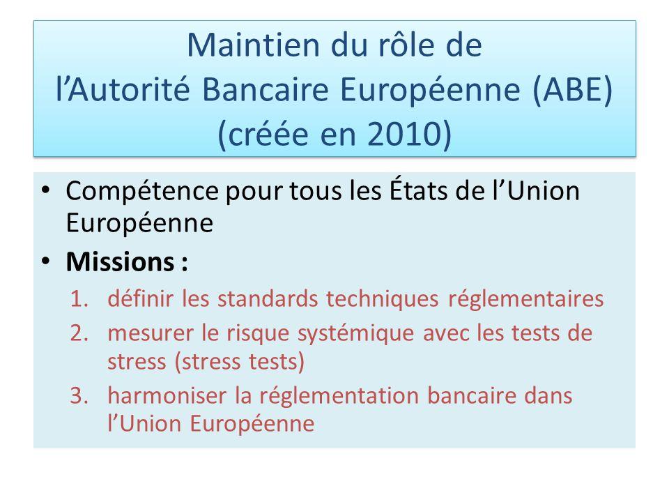Maintien du rôle de lAutorité Bancaire Européenne (ABE) (créée en 2010) Compétence pour tous les États de lUnion Européenne Missions : 1.définir les s