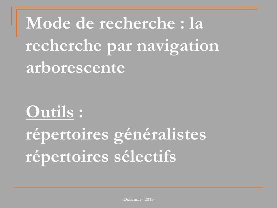 Dollara.fr - 2013 Mode de recherche : la recherche par navigation arborescente Outils : répertoires généralistes répertoires sélectifs