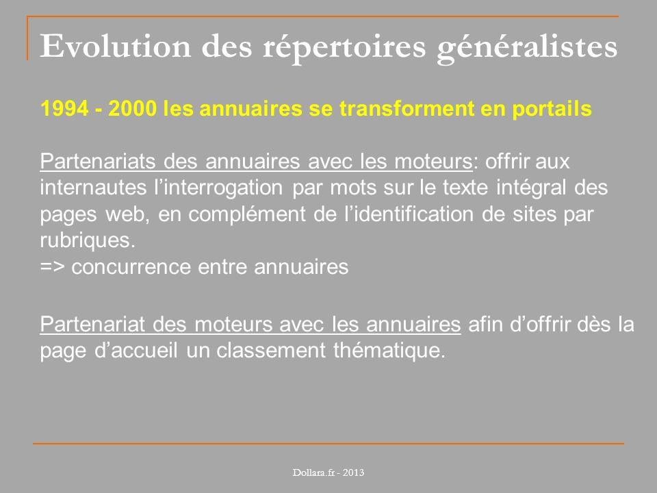 Evolution des répertoires généralistes 1994 - 2000 les annuaires se transforment en portails Partenariats des annuaires avec les moteurs: offrir aux i