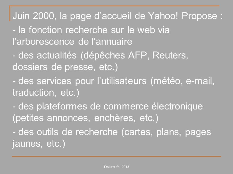 Juin 2000, la page daccueil de Yahoo! Propose : - la fonction recherche sur le web via larborescence de lannuaire - des actualités (dépêches AFP, Reut