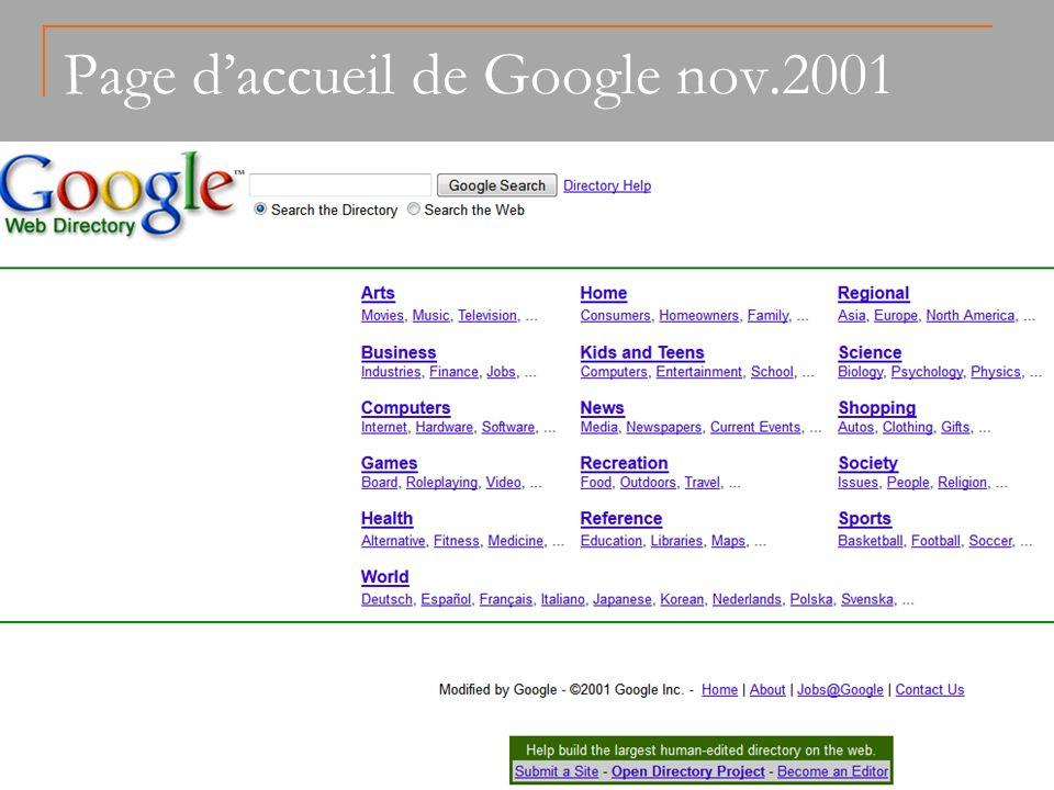 Page daccueil de Google nov.2001 Dollara.fr - 2013