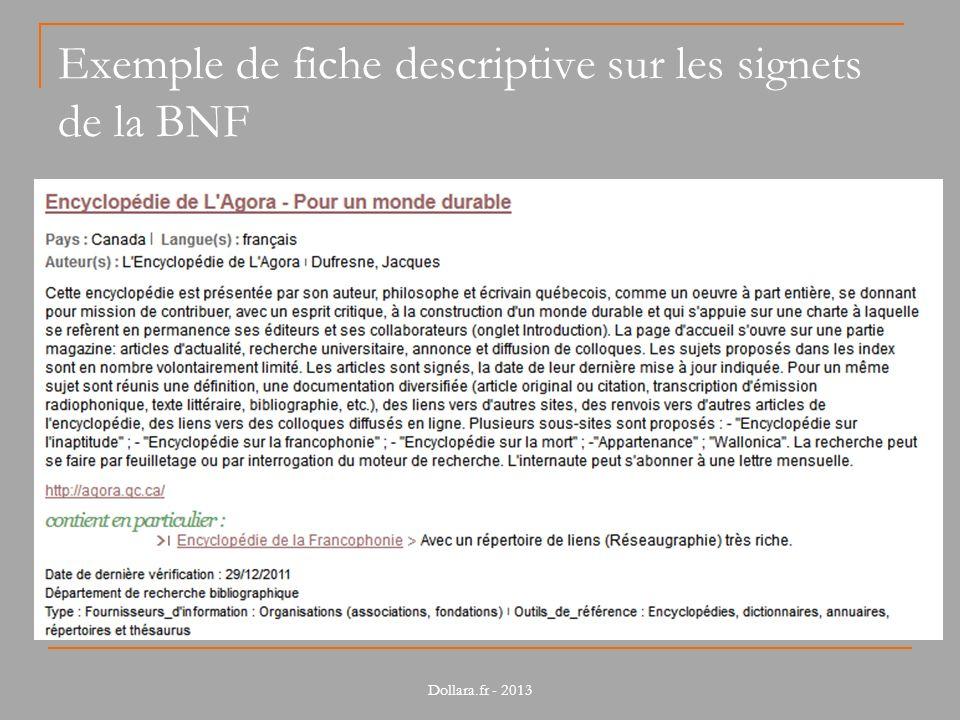 Exemple de fiche descriptive sur les signets de la BNF Dollara.fr - 2013