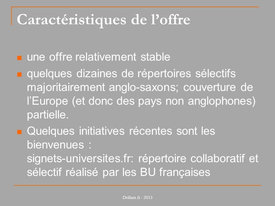 Caractéristiques de loffre une offre relativement stable quelques dizaines de répertoires sélectifs majoritairement anglo-saxons; couverture de lEurope (et donc des pays non anglophones) partielle.