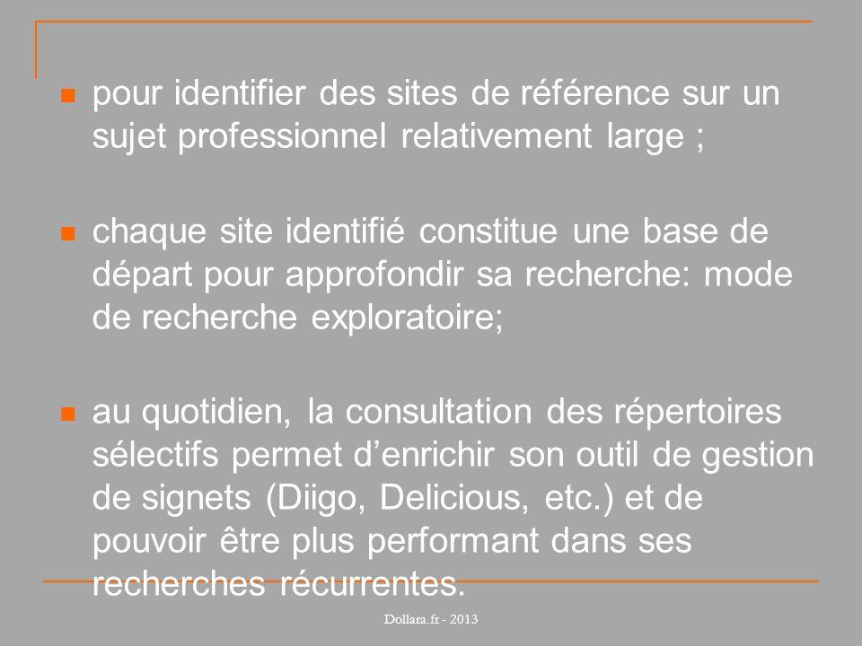 pour identifier des sites de référence sur un sujet professionnel relativement large ; chaque site identifié constitue une base de départ pour approfo