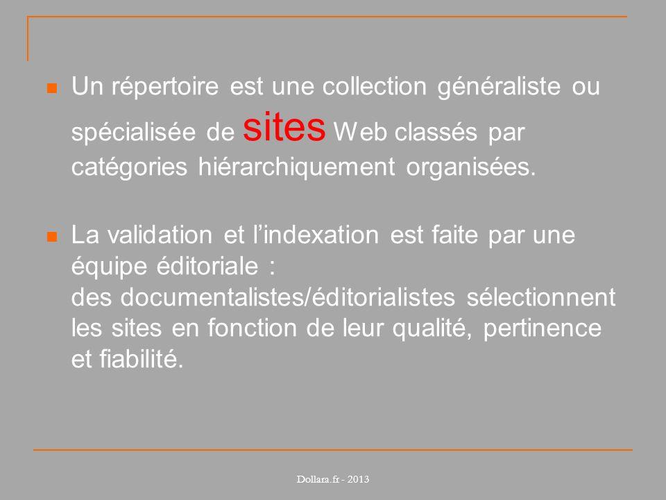 Un répertoire est une collection généraliste ou spécialisée de sites Web classés par catégories hiérarchiquement organisées. La validation et lindexat