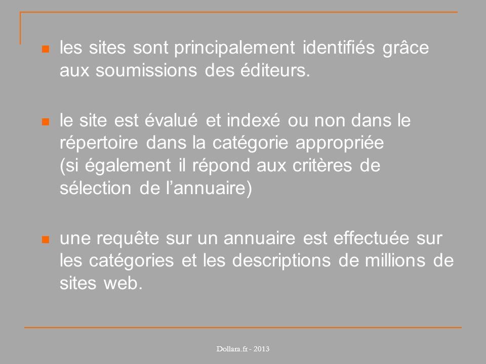 les sites sont principalement identifiés grâce aux soumissions des éditeurs. le site est évalué et indexé ou non dans le répertoire dans la catégorie