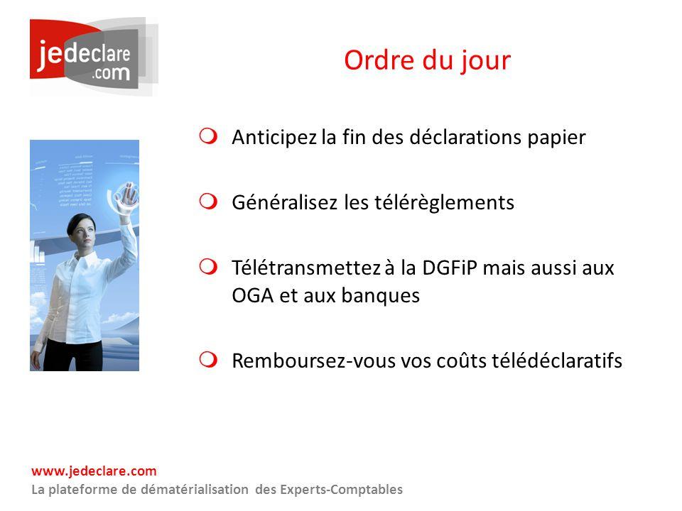 www.jedeclare.com La plateforme de dématérialisation des Experts-Comptables Ordre du jour Anticipez la fin des déclarations papier Généralisez les tél