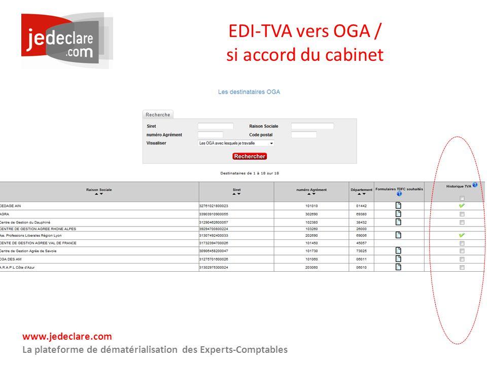 www.jedeclare.com La plateforme de dématérialisation des Experts-Comptables EDI-TVA vers OGA / si accord du cabinet