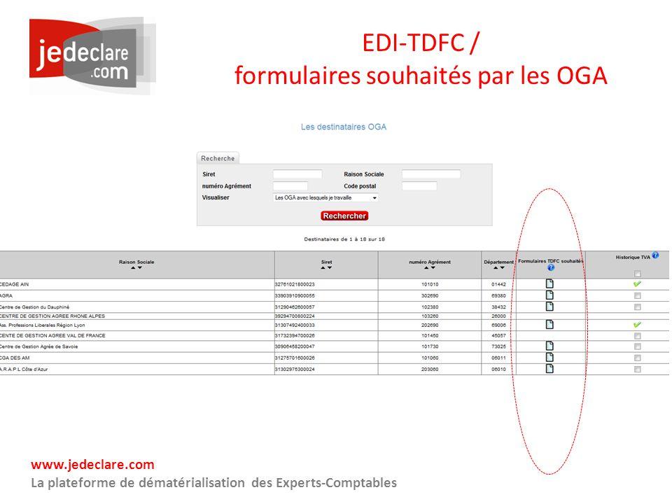 www.jedeclare.com La plateforme de dématérialisation des Experts-Comptables EDI-TDFC / formulaires souhaités par les OGA