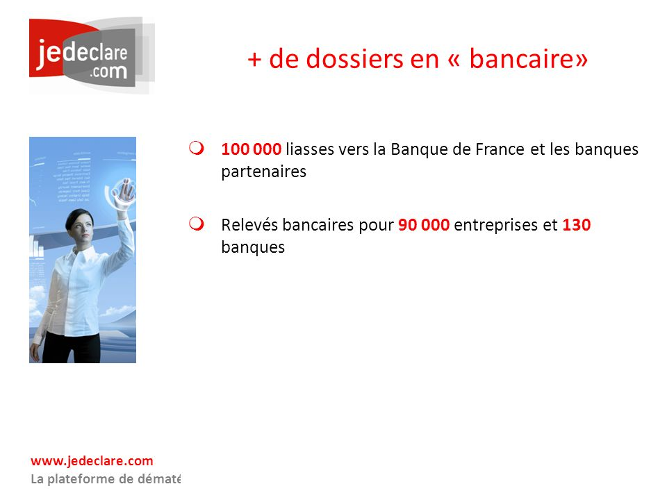 www.jedeclare.com La plateforme de dématérialisation des Experts-Comptables + de dossiers en « bancaire» 100 000 liasses vers la Banque de France et l