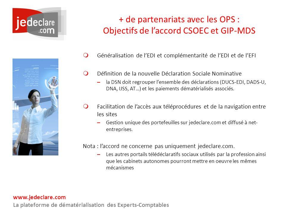 www.jedeclare.com La plateforme de dématérialisation des Experts-Comptables + de partenariats avec les OPS : Objectifs de laccord CSOEC et GIP-MDS Gén