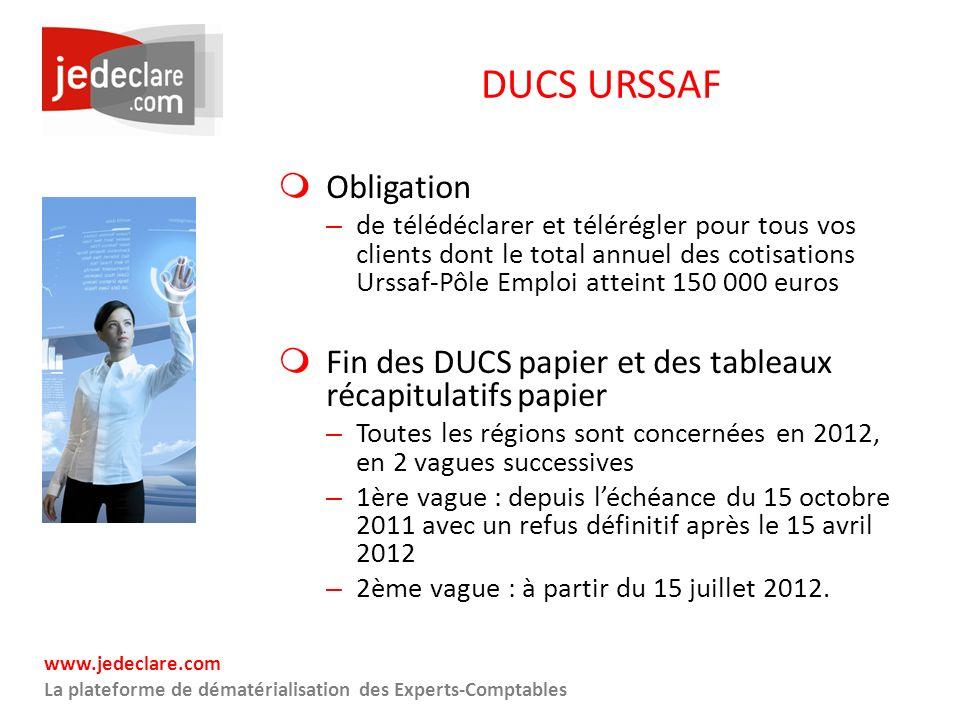 www.jedeclare.com La plateforme de dématérialisation des Experts-Comptables DUCS URSSAF Obligation – de télédéclarer et télérégler pour tous vos clien