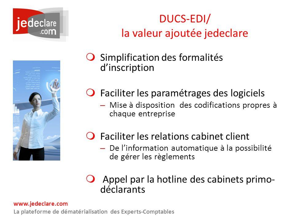 www.jedeclare.com La plateforme de dématérialisation des Experts-Comptables DUCS-EDI/ la valeur ajoutée jedeclare Simplification des formalités dinscr