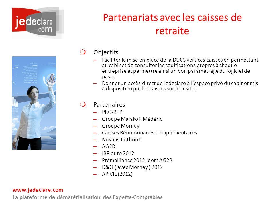 www.jedeclare.com La plateforme de dématérialisation des Experts-Comptables Partenariats avec les caisses de retraite Objectifs – Faciliter la mise en