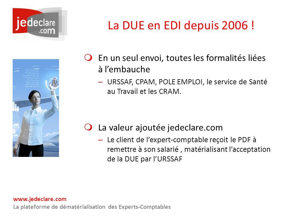 www.jedeclare.com La plateforme de dématérialisation des Experts-Comptables La DUE en EDI depuis 2006 ! En un seul envoi, toutes les formalités liées