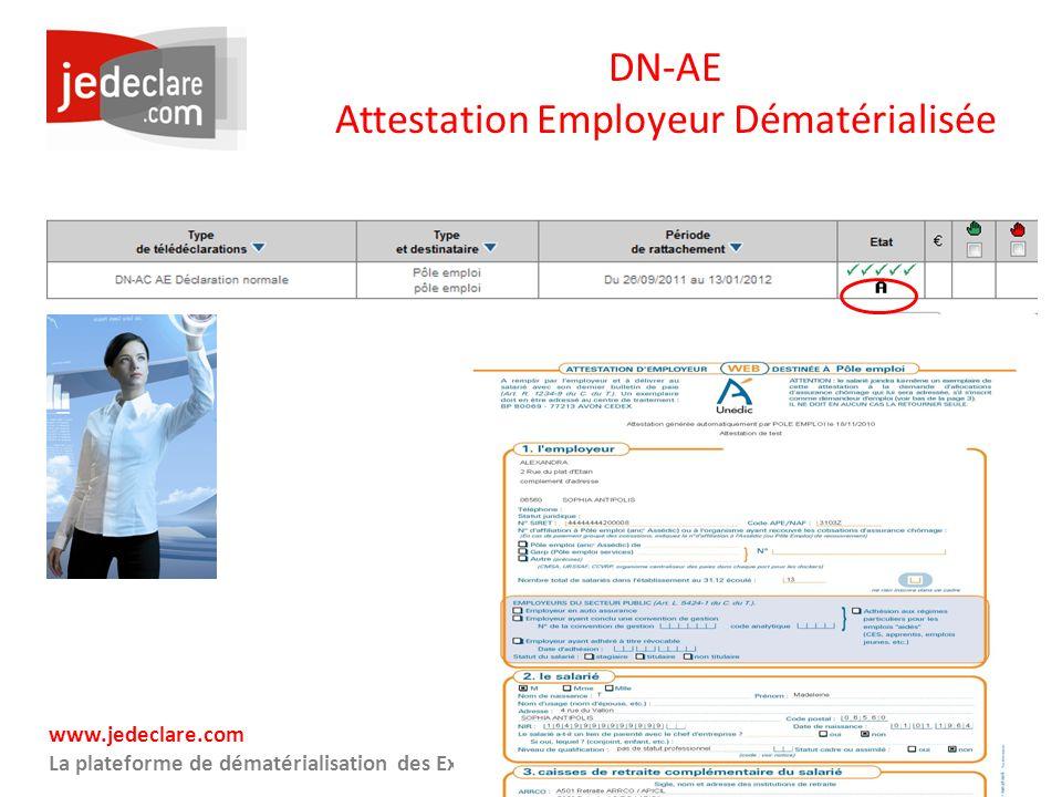 www.jedeclare.com La plateforme de dématérialisation des Experts-Comptables DN-AE Attestation Employeur Dématérialisée