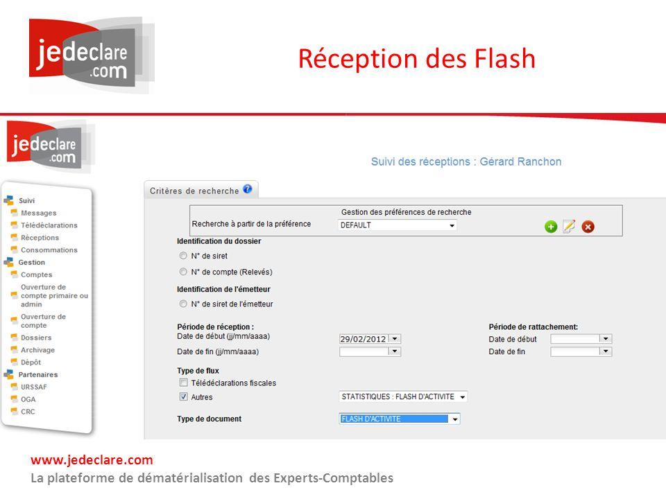 www.jedeclare.com La plateforme de dématérialisation des Experts-Comptables Réception des Flash