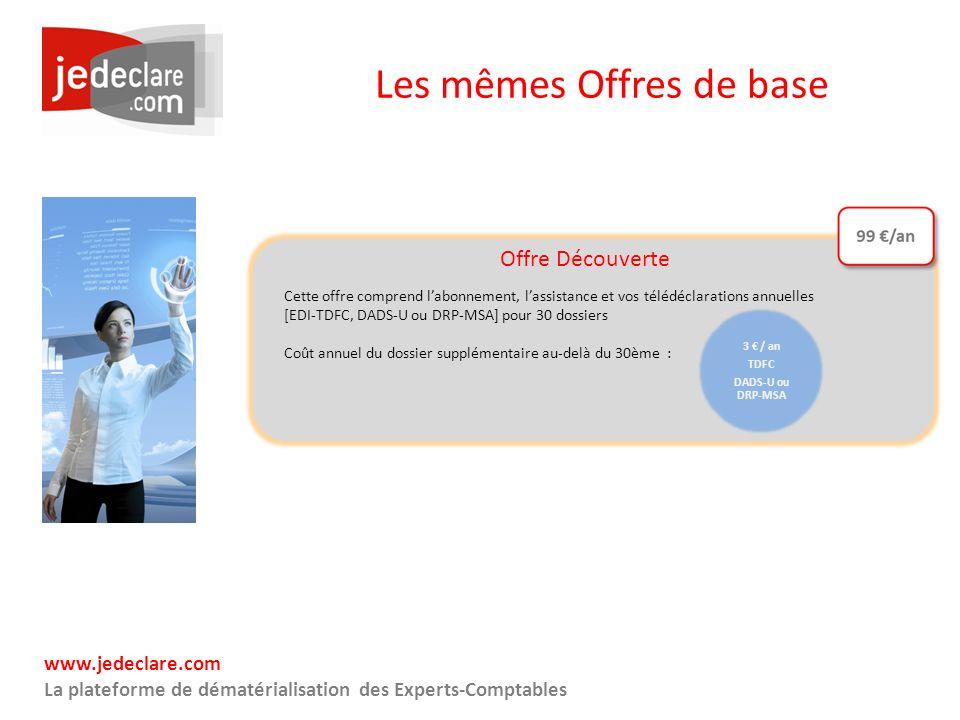 www.jedeclare.com La plateforme de dématérialisation des Experts-Comptables Les mêmes Offres de base 3 / an TDFC DADS-U ou DRP-MSA Offre Découverte Ce