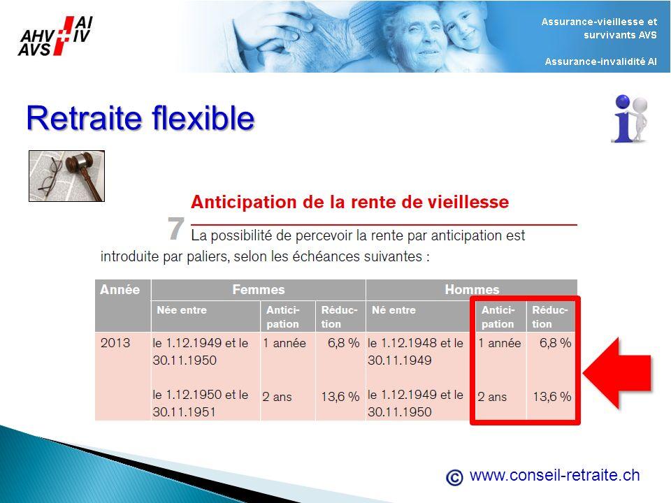 www.conseil-retraite.ch Retraite flexible