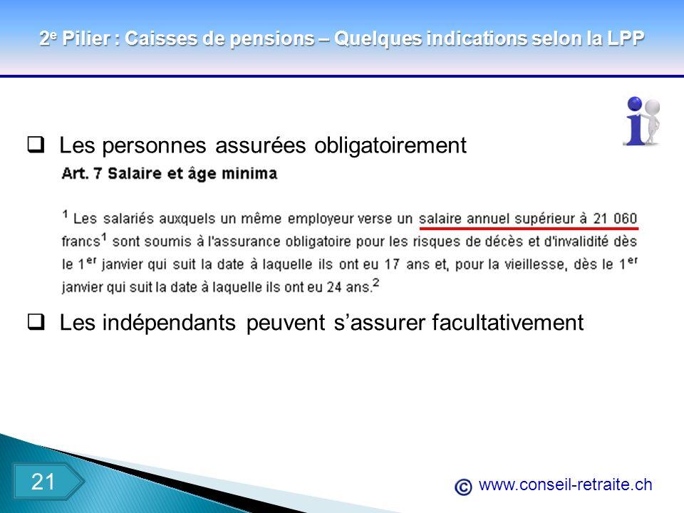 www.conseil-retraite.ch 2 e Pilier : Caisses de pensions – Quelques indications selon la LPP Les personnes assurées obligatoirement Les indépendants p