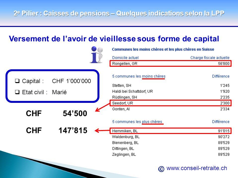 www.conseil-retraite.ch 2 e Pilier : Caisses de pensions – Quelques indications selon la LPP Versement de lavoir de vieillesse sous forme de capital C