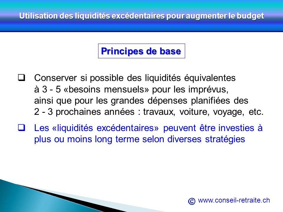 www.conseil-retraite.ch Utilisation des liquidités excédentaires pour augmenter le budget Principes de base Conserver si possible des liquidités équiv