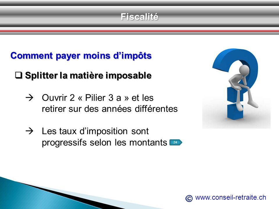 www.conseil-retraite.chFiscalité Comment payer moins dimpôts Splitter la matière imposable Splitter la matière imposable Ouvrir 2 « Pilier 3 a » et le