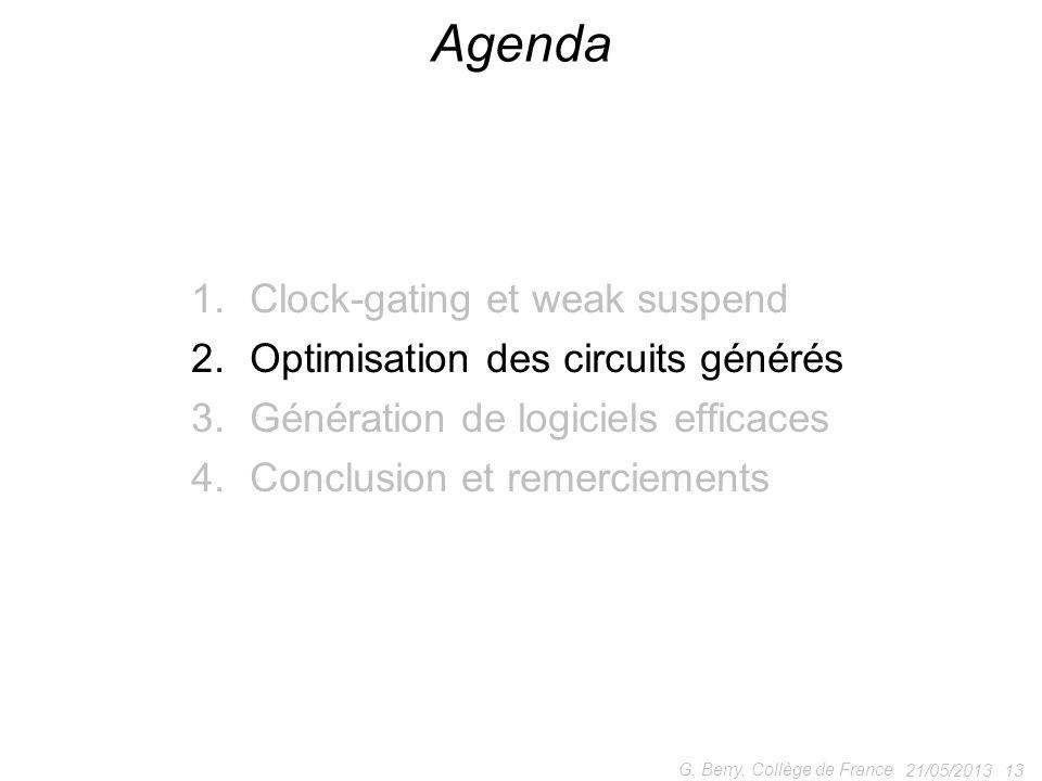 1.Clock-gating et weak suspend 2.Optimisation des circuits générés 3.Génération de logiciels efficaces 4.Conclusion et remerciements 21/05/2013 13 G.