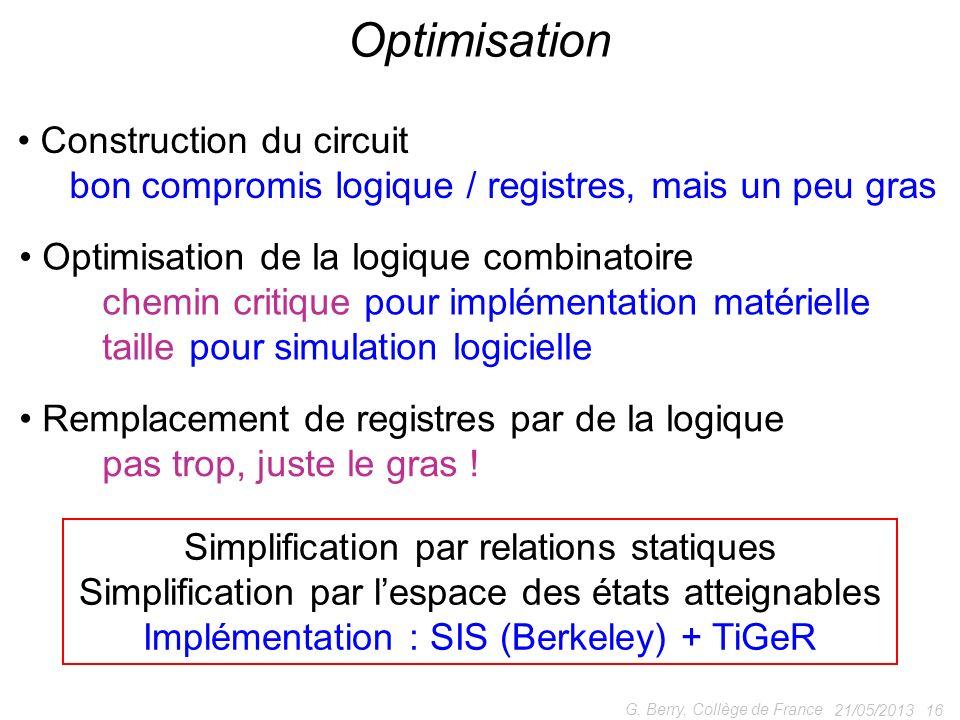 21/05/2013 16 G. Berry, Collège de France Optimisation Construction du circuit bon compromis logique / registres, mais un peu gras Remplacement de reg