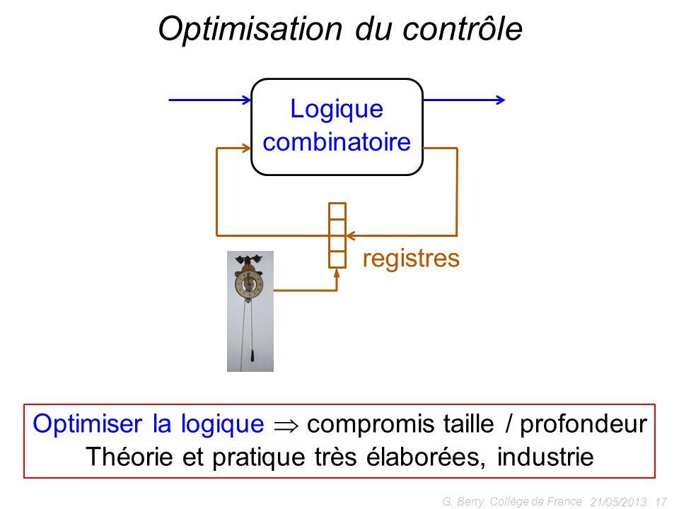 21/05/2013 17 G. Berry, Collège de France Optimisation du contrôle Logique combinatoire registres Optimiser la logique compromis taille / profondeur T