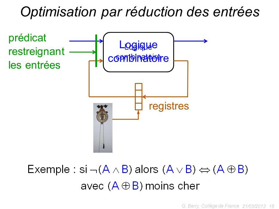 21/05/2013 18 G. Berry, Collège de France Optimisation par réduction des entrées Logique combinatoire prédicat restreignant les entrées registres Logi
